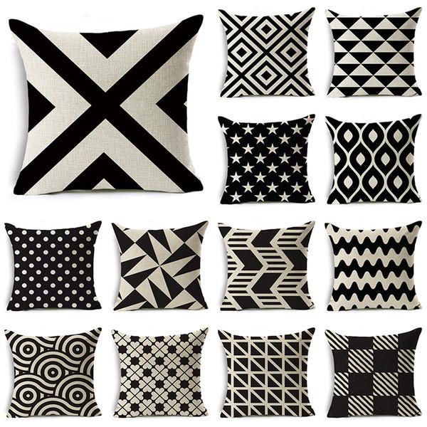 WZH Black White Modern Style Cushion Cover 45x45cm Linen Decorative Pillow Cover Sofa Bed Pillow Case