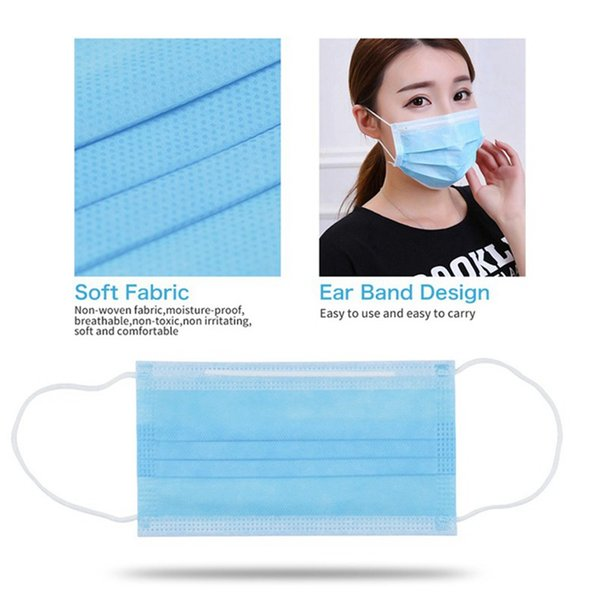 100pcs disposable 3-layer masks anti dust breathable