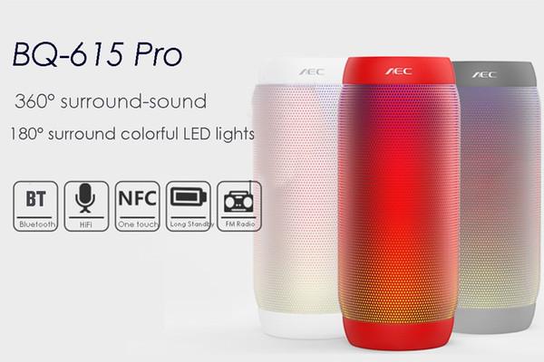 Altoparlante stereo HIFI PRO AEC BQ-615 originale LED colorato senza fili Bluetooth 3.0 3.5mm Porta audio Supporto NFC Microfono FM