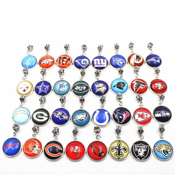 32pcs en gros équipe de football de sport gros trou perles en vrac charmes européens balancent charmes bricolage accessoire bijoux suspendus charms