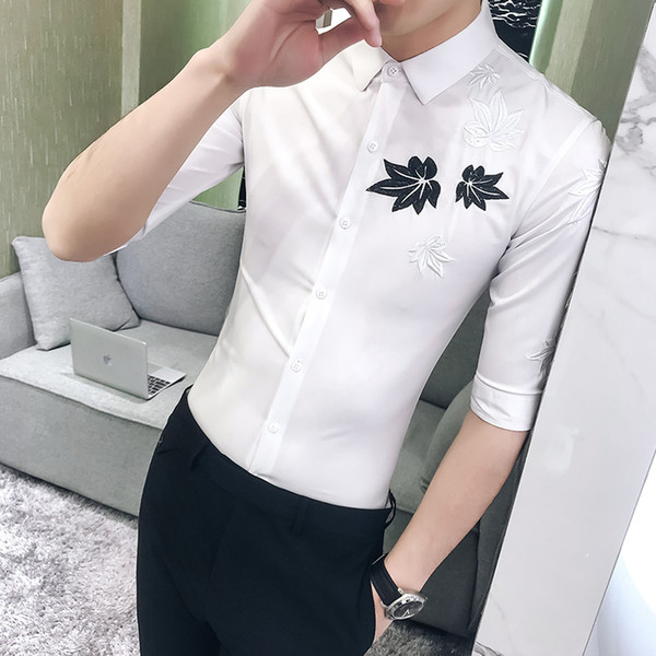 Hot Sale Men Shirt Embroidery Dress Social Shirts Mens Turn Down Collar Half Sleeve Business Party Club Work Shirt Man M-XXXL