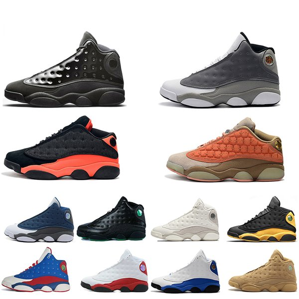 13 13 s Kap Ve Kıyafeti erkekler basketbol ayakkabı Atmosfer Gri Terracotta Allık Siyah Kızılötesi Phantom Hiper Chicago Siyah Kedi Erkekler Boyutu 7.0-13