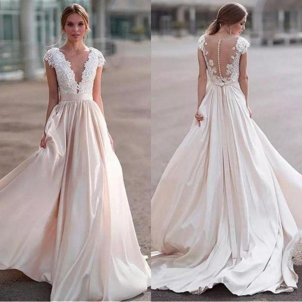 Luxury Lace Wedding Dresses Sheer Neck Cap Sleeves Satin Ribbon Illusion Back Country Wedding Dresses Beach Bridal Dresses