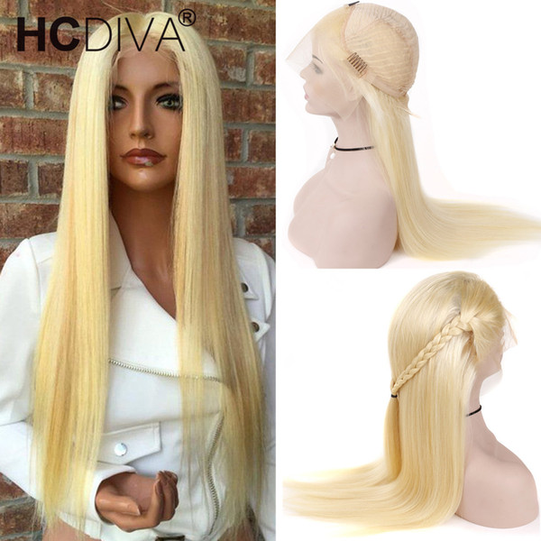 top popular #613 Blonde Full Lace Human Hair Wigs 613 Blonde Lace Frontal Human Hair Wigs Brazilian Virgin Straight Hair Transparent Lace Frontal Wigs 2019