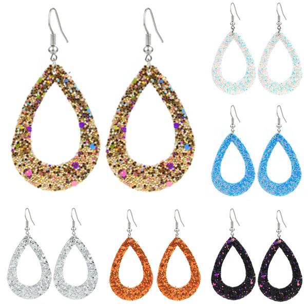 trendy waterdrop hollow out sequins pu leather earrings boho female teardrop dangle charming pendant hook earring for women wedding gifts