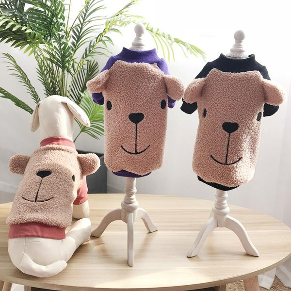Dog clothes Autumn and winter plus velvet pet cotton padded Teddy cashmere dog sweater schnauzer taidibi bear two feet clothes
