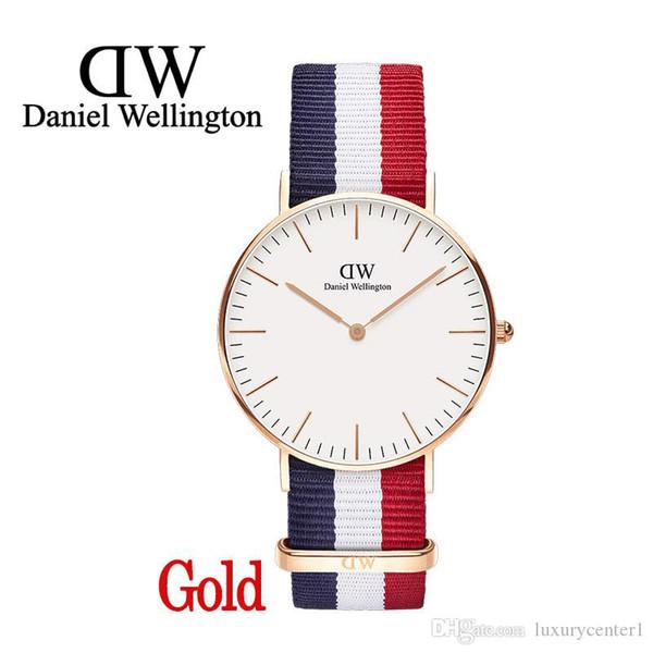 Mode Luxe Daniel Montre 40mm hommes montres en or Marque Célèbre Marque bracelet en nylon style 40mm argent mens montres avec boîte cadeau relojes