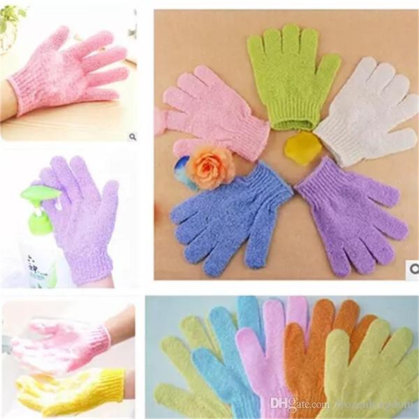 DHL Exfoliating Bath Glove Five fingers Bath bathroom accessories nylon bath gloves Bathing supplies products DHL Free Shiipping 2017082301