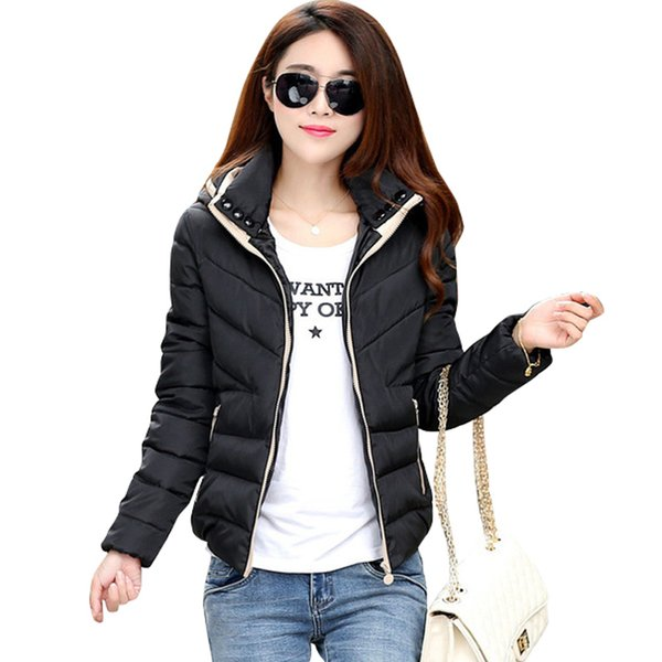40650016db8 2018 New basic Jacket Women Autumn Winter Short Coats Solid Hooded Down  Cotton Padded Slim Warm