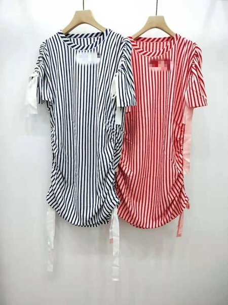 Designer ladies bat sleeves elastic band vertical stripes long sweater ice surface material lightweight comfortable dress women's clothing