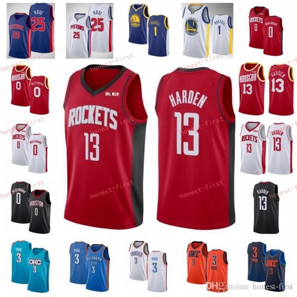 best service b55c0 7c0b2 2019 Chris 3 Paul Thunder Jerseys Oklahoma Houston City James 13 Harden  Rockets Russell 0 Westbrook Derrick 25 Rose Pistons DAngelo 1 Russell From  ...