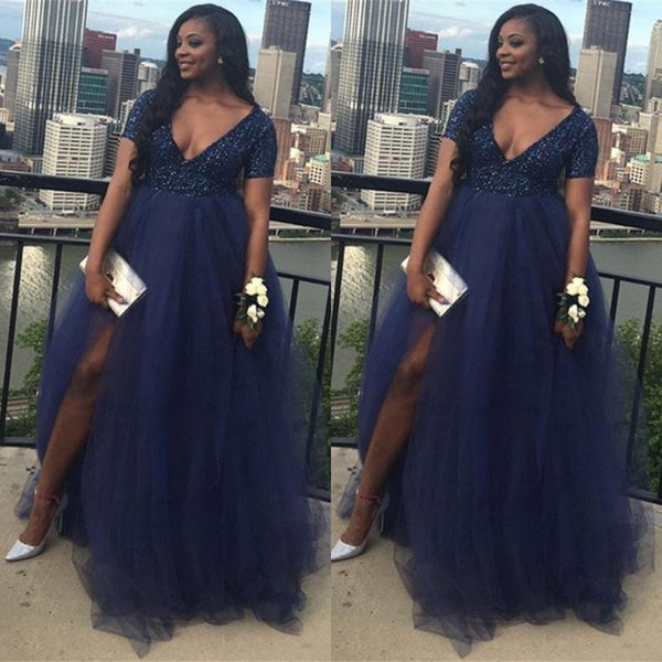 Navy Blue Plus Size African Split Prom Dresses 2K19 Beaded Top Tulle Skirt A Line V Neck Evening Gowns Maternity Vestidos BC1848