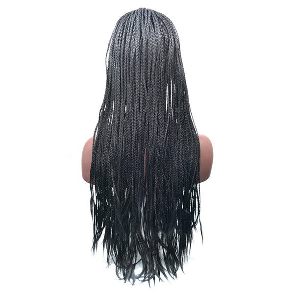18-24 Inch High Density Braided Lace Front Wigs Box Synthetic Fiber Wigs Thick Full Hand Twist Synthetic Hair Micro Havana Twist Wigs