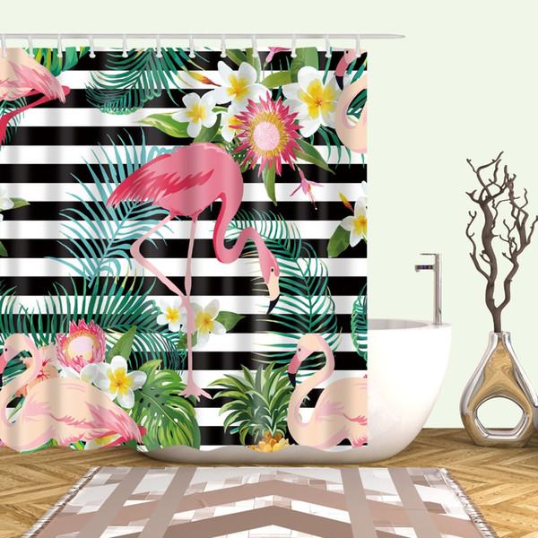 Тропические животные Розового фламинго Занавески для душа занавеса ванной комнаты Frabic водонепроницаемого полиэстера ванна занавес с крючками