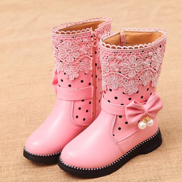 2019 Scarpe Autunno Inverno ragazze Stivali per i bambini della piattaforma in gomma metà polpaccio neve stivali per la ragazza con la farfalla-nodo principessa Shoes