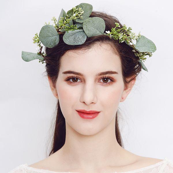 Flower Wreath for Women Girl Wedding Bridal Artificial Flower Crown Head Tiara For Hair Floral headband Hair accessories JCG131