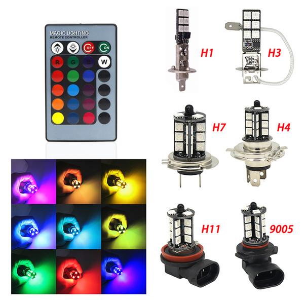 2pcs H1 H3 H4 9005 9006 H11 H7 RGB LED Auto Car Headlight 5050 LED 27SMD Strobe Fog Light Head Lamp Bulb With Remote Control