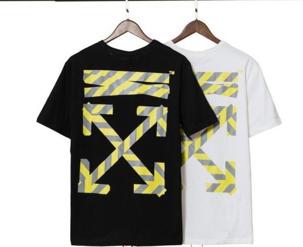 19SS designer vestido de verão rua solta de manga curta t-shirt faixa reflexiva impressão em torno do pescoço homens e mulheres casal meia manga t