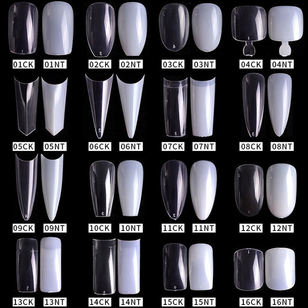 best selling 500pcs pack Natural Clear False Acrylic Nail Tips Full Half Cover Tips French Sharp Coffin Ballerina Fake Nails UV Gel Manicure Tools