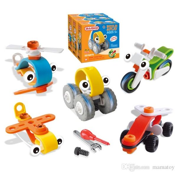 Children 's Vehicles Assembled LearningToys Plane Motorcycle Racing Creative Blocks Handmade Toys Best Christmas Gifts for Boys