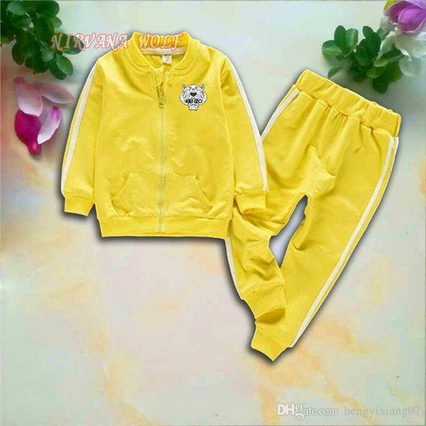 KZ Tiger Kids Sets 1-4T Kids Cardigan Zipper Coats Pants 2Pcs / set Children Sports Sets manica lunga Tiger Printing Bambini Summer Suit