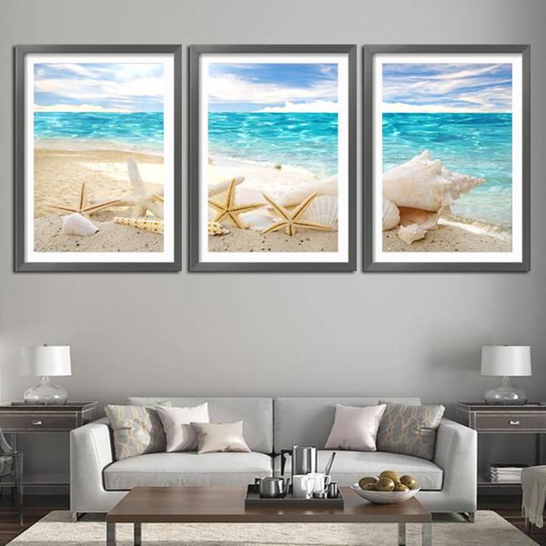 Acheter 3 Pièces De Mur Art Déco Vue Sur La Mer Coquillages De Mer Moderne Photo De Mode Impression Sur Toile Peinture Peintures à L Huile Décoration