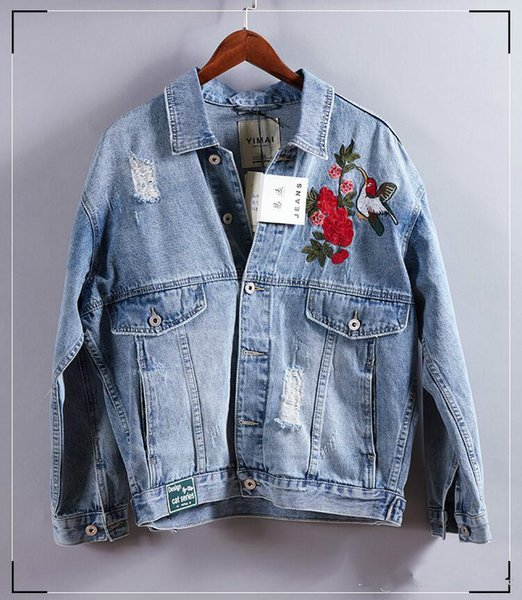 2019 Newest Plus Size Denim Biker Jacket For Men Washed Embroidery Ripped Jean Jackets Coat With Armband Blue Bomber Jacket Spring Outwear