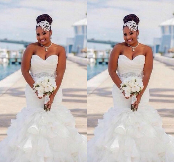 2020 Sexy Plus Size African Mermaid Wedding Dresses Sweetheart Sashes Crystal Beaded Belt Organza Ruffles Tiered Custom Formal Bridal Gowns