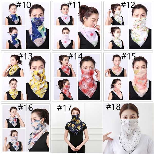 best selling Sunscreen Masks Outdoor Cycling Neck Mask Chiffon Collar Fashion Printed Face Cover Scarf Dustproof Head Wrap Bandanas Wholesale HN465
