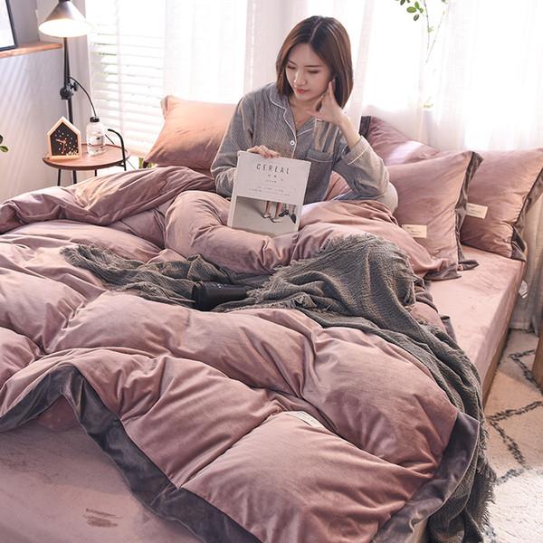FB1901008 Winter coral velvet bed linens four-piece flannel fleece bedsheet double-sided velvet duvet cover AB size velvet thickened