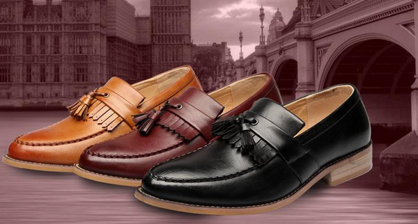 British wind men's shoes men's leisure Brock tassel European and American Korean version of tide breathable carved pointed leather shoes men