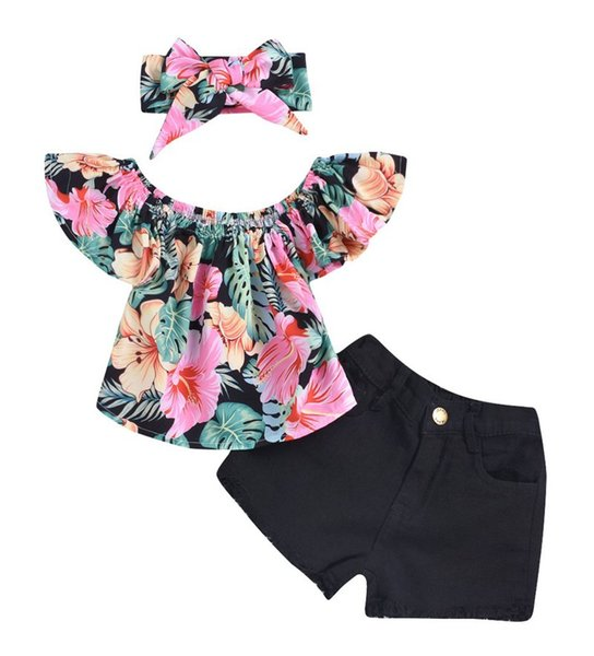 0-4years Cute Newborn Baby Girls Summer Floral Outfits Off Shoulder Boat Neck Crop Tops+ Tutu Bloomers Shorts Headbands 3PC