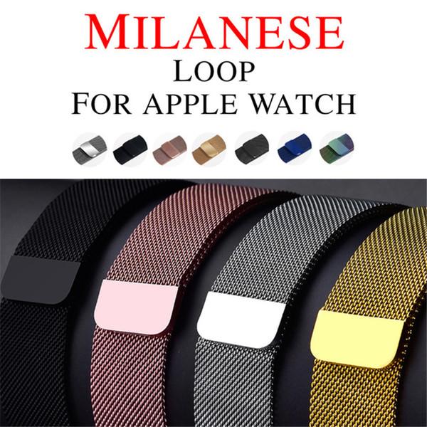 Banda de bucle milanesa para reloj de Apple 42 mm / 38 mm correa de acero inoxidable magnética ajustable pulsera de reemplazo correa para iwatch serie 3/2/1