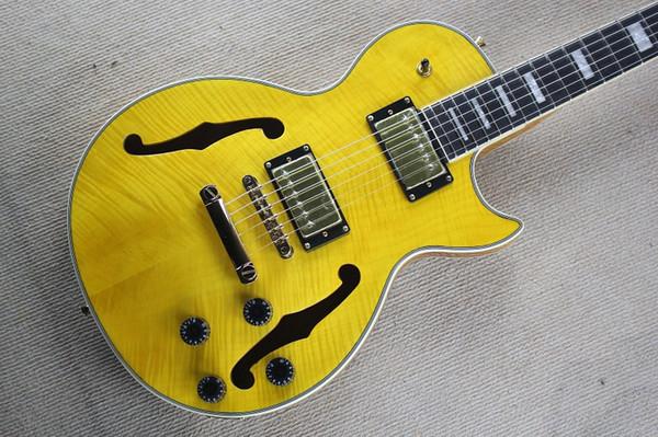 Boa qualidade! Nova corpo amarelo corpo pequeno jazz LP semi-oca da guitarra elétrica da cópia do tigre verniz