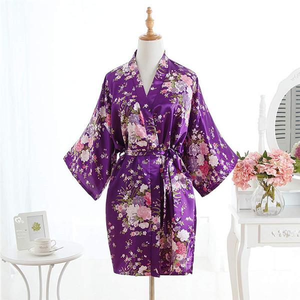 Mulheres De Cetim De Seda Flor De Cerejeira Kimono Casamento Da Dama De Honra Robe Roupão Floral Roupão Robe De Banho Noite Curta Moda Roupão