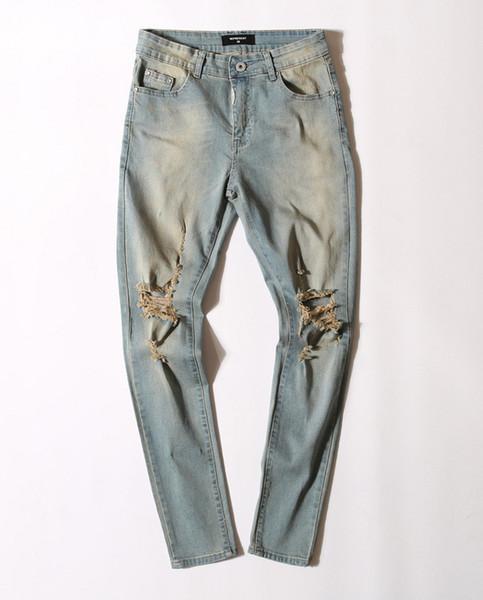 Mens Distressed Shredded Jeans Fashion Designer Motorcycle Riding Pants Luxury Shredded Jeans Slim Street Hip Hop Men Micro-Bomb Jeans