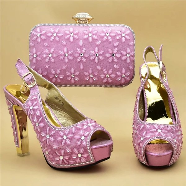 African Shoe and Bag Matching Set Women Italian Shoes and Bag Set for Party Rhinestone Wedding Shoes High Heel Pumps Women Shoes