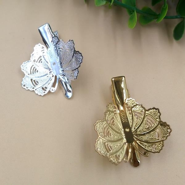 20pcs 22*30mm Gold French barrettes flower leaf hair pin Alligator clip metal butterfly hairpin silver hairclip hairwear diy jewelry