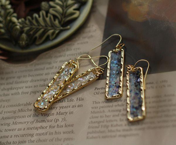 Cristal Art Boucles d'oreilles Flash Shard Bleu Blanc Translucide Rectangle Continental Oreille Crochets