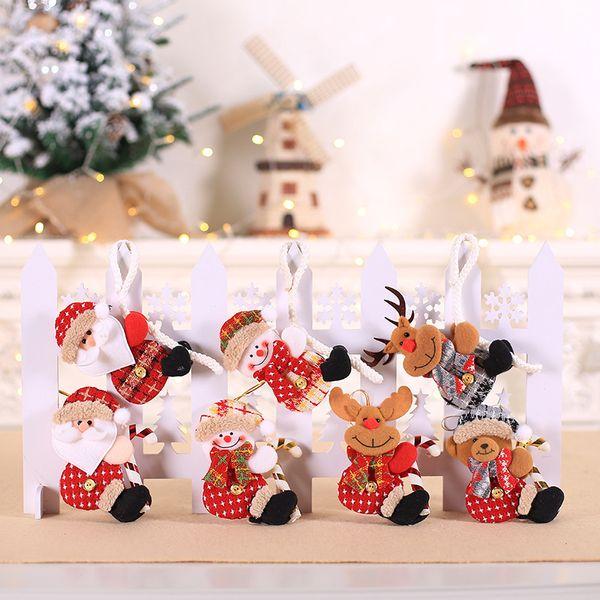 Cute Rope Climbing Santa Xmas Pendants Cartoon Snowman Elk Doll Ornament For Christmas Tree Hanging Decoration Kid New Year Gift