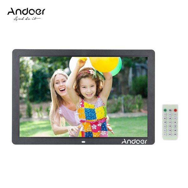 """Andoer 17"""" Scroll Caption LED Digital Photo Picture Frame 1080P High Resolution 1440*900 Alarm Clock MP3 MP4 with Remote Control"""