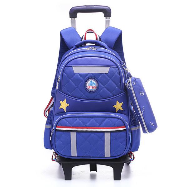New Hot Cartoon Removable Multifunction Children School Bags With 2/6 Wheels Waterproof Backpacks Boys Trolley Schoolbag as Gift