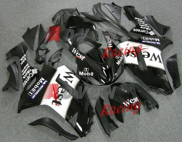 Neue ABS-Motorrad-Verkleidungs-Kits passen für Kawasaki Ninja ZX6R 636 2007 2008 07 08 6R 600CC-Karosseriesatz Verkleidungs-schöner schwarzer Westen