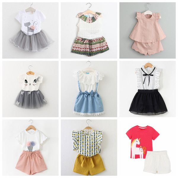 42 designs baby girls summer casual suits good quality children girl outfits Blouse Tshirt tops+pants or skirts girls 2pcs clothing set