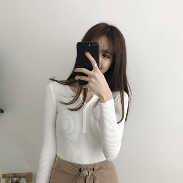 V Neck White Sweaters Women Autumn Winter New Long Sleeve Sexy Slim Tops Solid Streetwear Knitted Korean Pullover