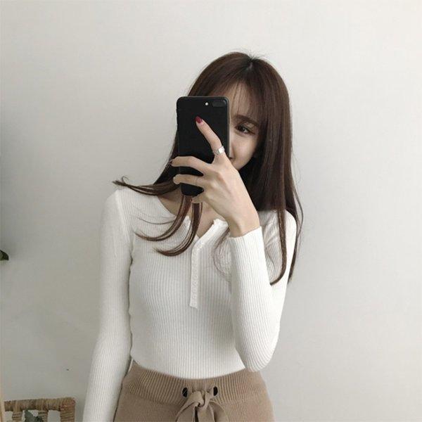 V Cou Blanc Chandails Femmes Automne Hiver Nouveau À Manches Longues Sexy Slim Tops Solide Streetwear Tricoté Pull Coréen