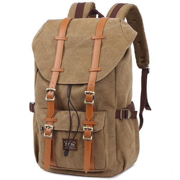 Big Brands same style KAUKKO Thick Canvas Material Vintage Backpacks Women Men Travel creeper School Backpack Laptop Bags