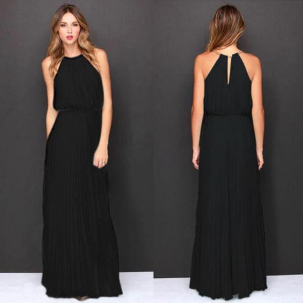 cda903726 Fashion Dress Womens Formal Chiffon Sleeveless Halter Dress Prom Evening  Party Long Maxi Dress Women jul20