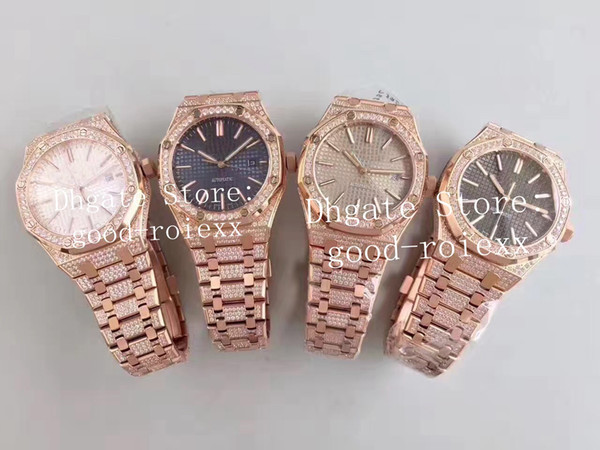 Top Luxury Men's Rose Gold Watches Mens Automatic Cal.3120 Watch Full Pave Bling Diamond Bracelet Men 24 Jewel Oak 15400 Date Wristwatches