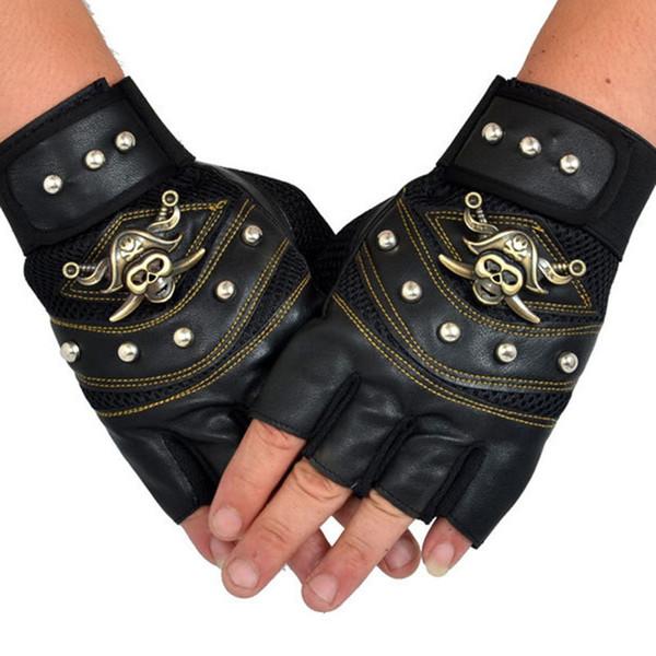 New Skull Leather Gloves Polyester Punk Rock Hip Hop Men Gloves Vintage Fashion PU Leather Skull Studded Fingerless Gloves